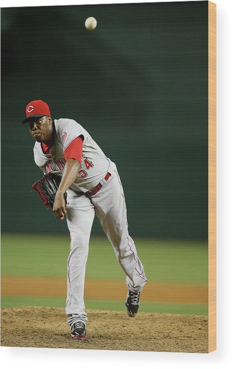 Relief Pitcher Wood Print featuring the photograph Aroldis Chapman by Christian Petersen