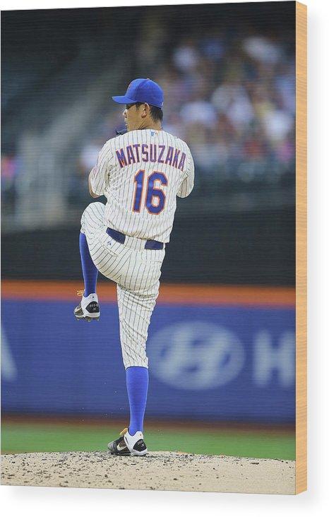 American League Baseball Wood Print featuring the photograph Daisuke Matsuzaka by Al Bello