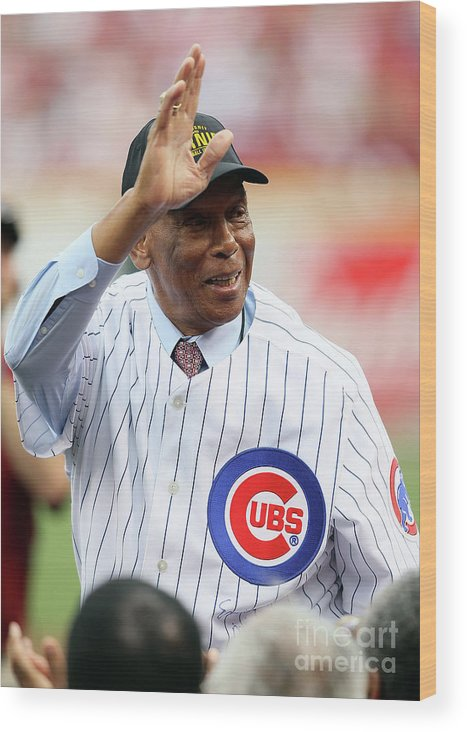 Great American Ball Park Wood Print featuring the photograph Ernie Banks by Andy Lyons