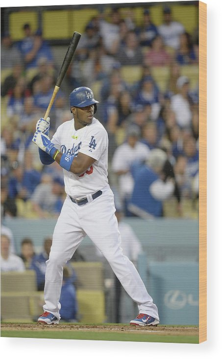 California Wood Print featuring the photograph Yasiel Puig by Harry How