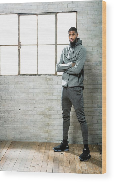 Nba Pro Basketball Wood Print featuring the photograph Paul George by Nathaniel S. Butler