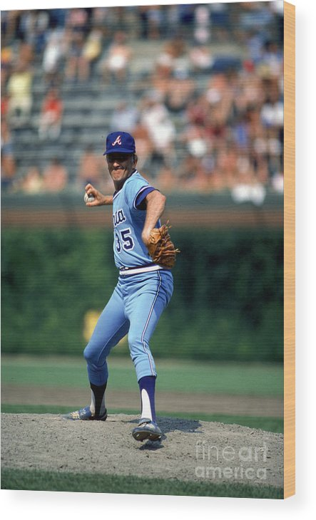 1980-1989 Wood Print featuring the photograph Phil Niekro by Rich Pilling