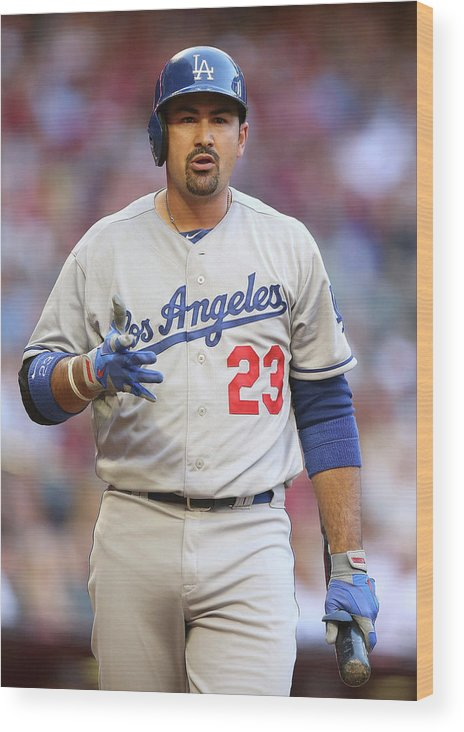 Los Angeles Dodgers Wood Print featuring the photograph Adrian Gonzalez by Christian Petersen