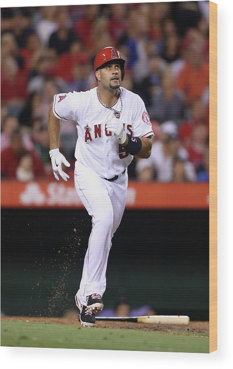 American League Baseball Wood Print featuring the photograph Albert Pujols by Jeff Gross