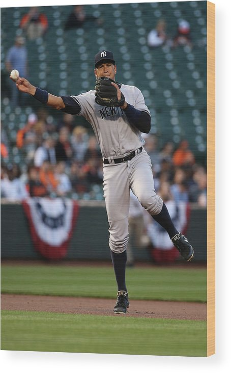 People Wood Print featuring the photograph Alex Rodriguez by Rob Carr