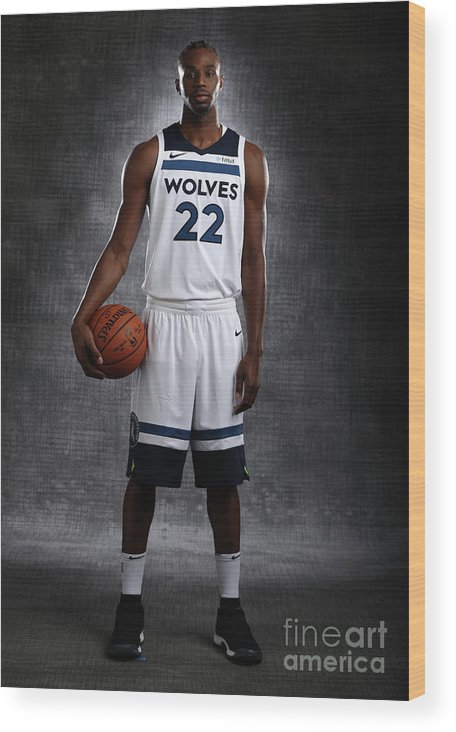 Media Day Wood Print featuring the photograph Andrew Wiggins by David Sherman