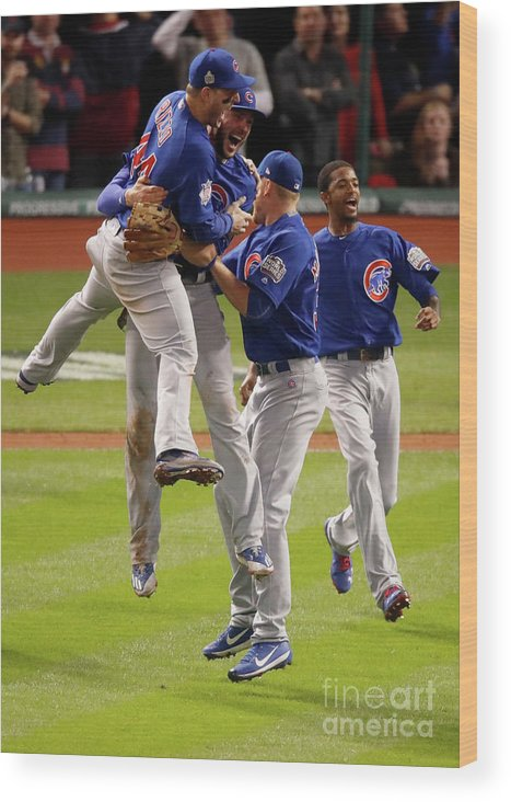 People Wood Print featuring the photograph Anthony Rizzo and Kris Bryant by Gregory Shamus