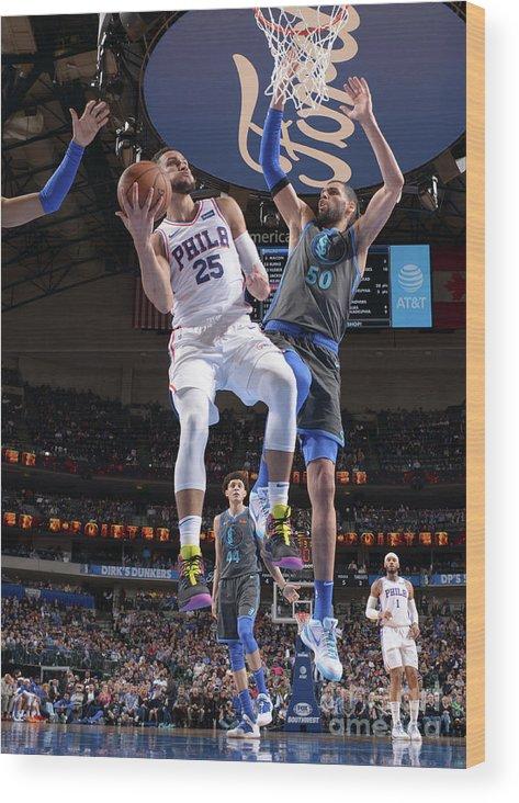 Nba Pro Basketball Wood Print featuring the photograph Ben Simmons by Glenn James