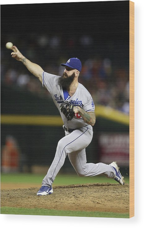 Relief Pitcher Wood Print featuring the photograph Brian Wilson by Christian Petersen