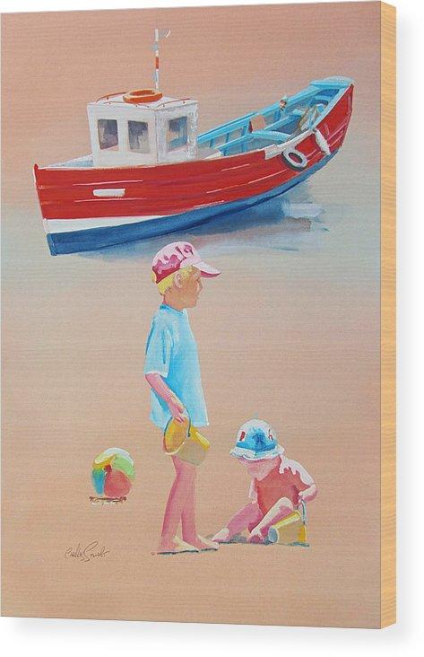 Boys Wood Print featuring the painting Bridlington Beach by Charles Stuart