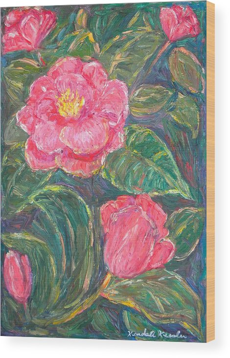 Impressionism Wood Print featuring the painting Camelias by Kendall Kessler