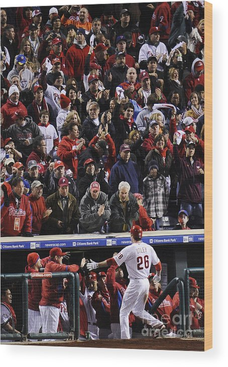 People Wood Print featuring the photograph Chase Utley by Jeff Zelevansky