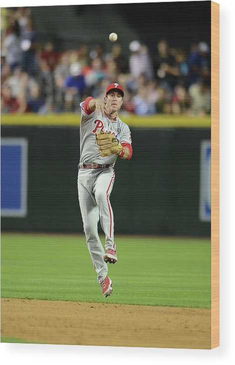 American League Baseball Wood Print featuring the photograph Chase Utley by Norm Hall