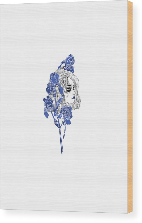 Digital Art Wood Print featuring the digital art China girl by Elly Provolo