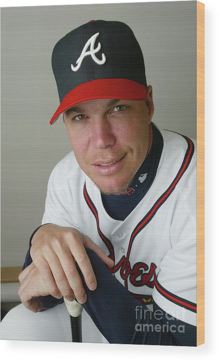 Media Day Wood Print featuring the photograph Chipper Jones by Rick Stewart