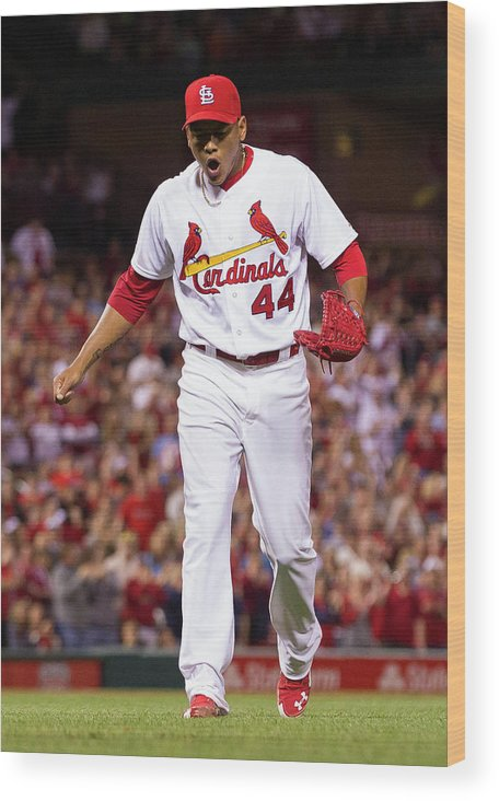 St. Louis Cardinals Wood Print featuring the photograph Chris Stewart by David Welker
