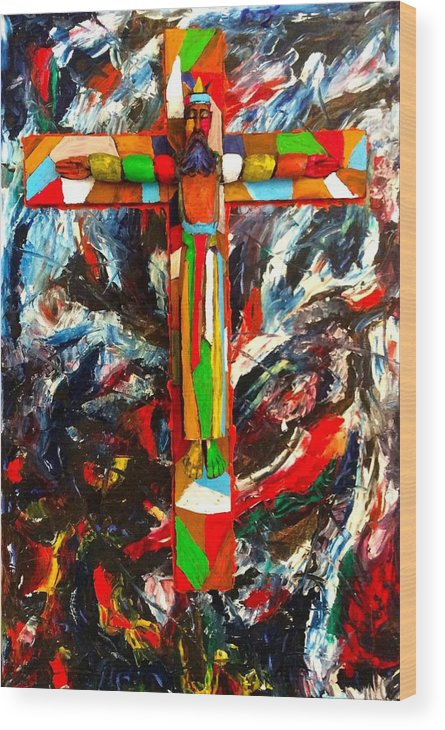 Crucifixion Wood Print featuring the mixed media Crucifixion by Biagio Civale