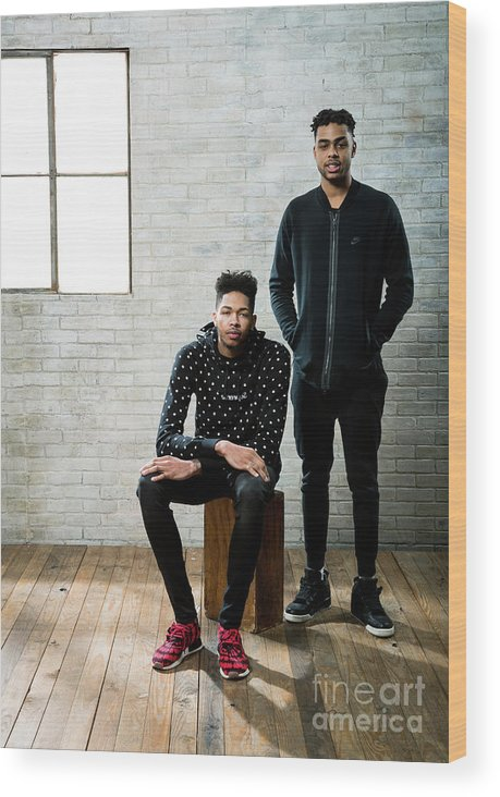 Nba Pro Basketball Wood Print featuring the photograph D'angelo Russell and Brandon Ingram by Nathaniel S. Butler