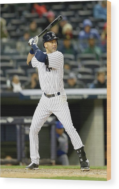 Game Two Wood Print featuring the photograph Derek Jeter by Elsa