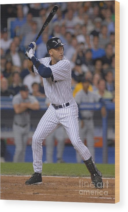 People Wood Print featuring the photograph Derek Jeter by Mark Cunningham