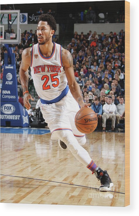 Nba Pro Basketball Wood Print featuring the photograph Derrick Rose by Danny Bollinger