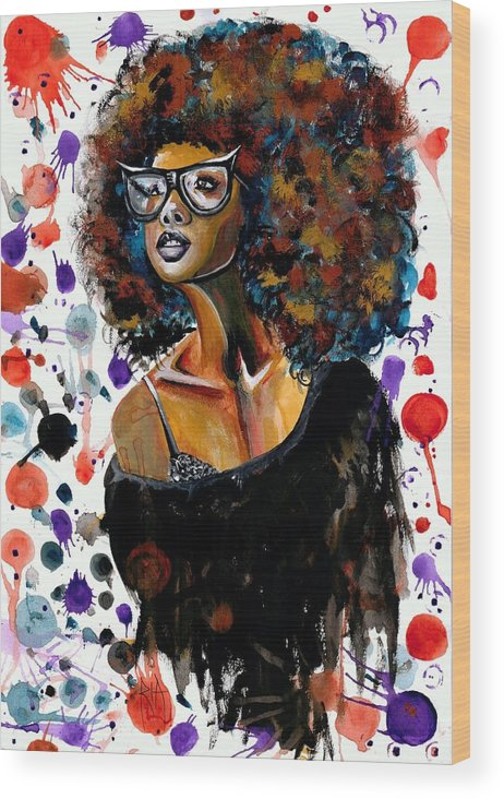 Sexy Wood Print featuring the painting Dope Chic by Artist RiA