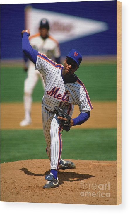 Dwight Gooden Wood Print featuring the photograph Dwight Gooden by Mlb Photos