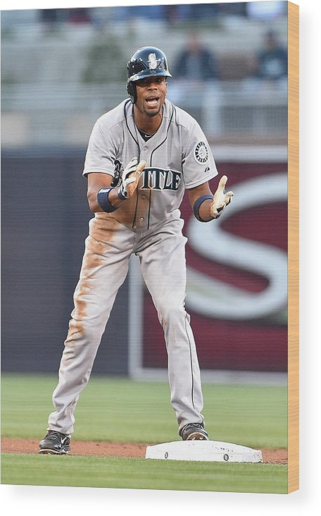 American League Baseball Wood Print featuring the photograph Endy Chavez by Denis Poroy