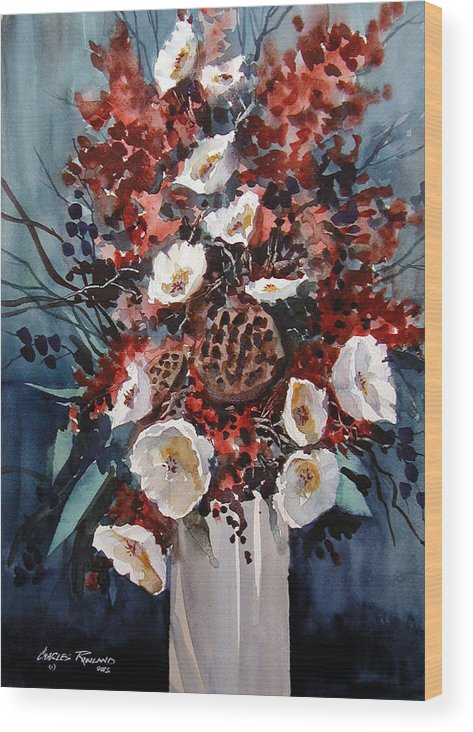Floral Wood Print featuring the painting Floral by Charles Rowland