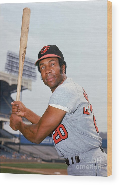 American League Baseball Wood Print featuring the photograph Frank Robinson by Louis Requena