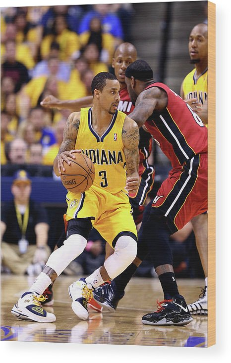 Playoffs Wood Print featuring the photograph George Hill and Lebron James by Andy Lyons