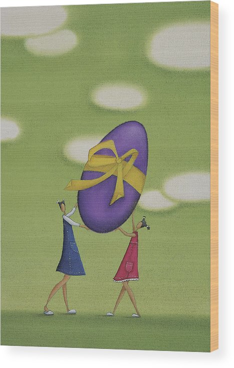 White Wood Print featuring the drawing Girls Holding a Large Easter Egg by Mandy Pritty