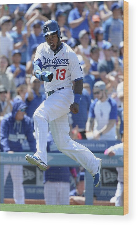 American League Baseball Wood Print featuring the photograph Hanley Ramirez and Adrian Gonzalez by Harry How