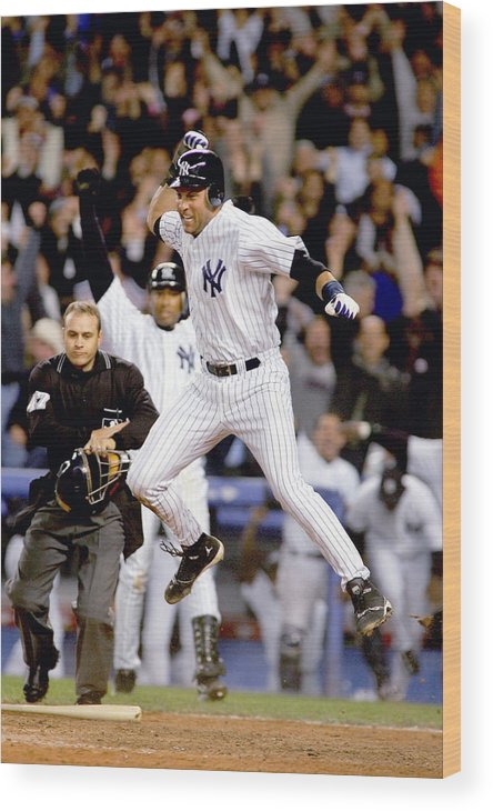 Game Two Wood Print featuring the photograph Hideki Matsui and Derek Jeter by Al Bello