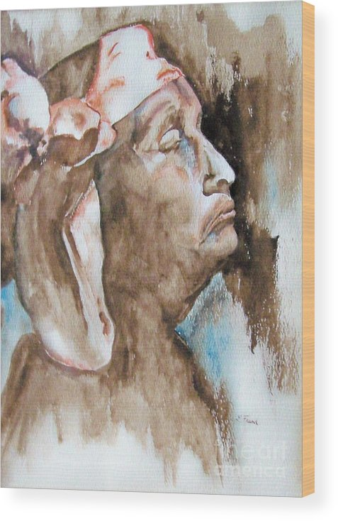 Portrait Wood Print featuring the painting Indian Woman by Linda Frank