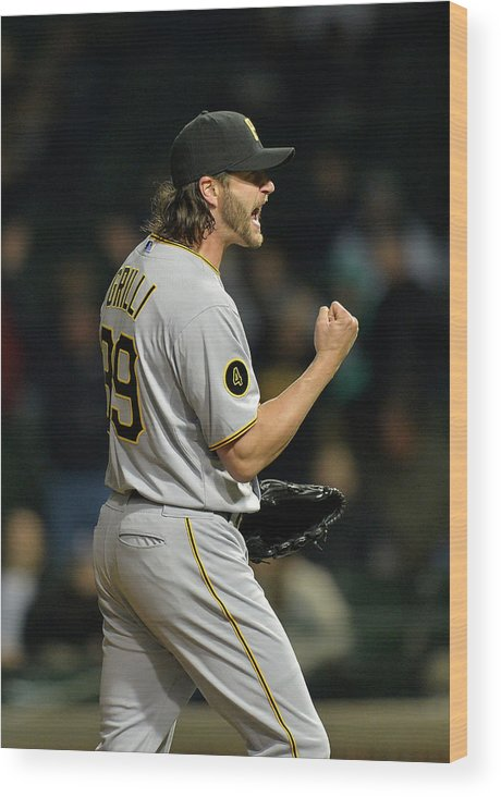 Fist Wood Print featuring the photograph Jason Grilli by Brian Kersey
