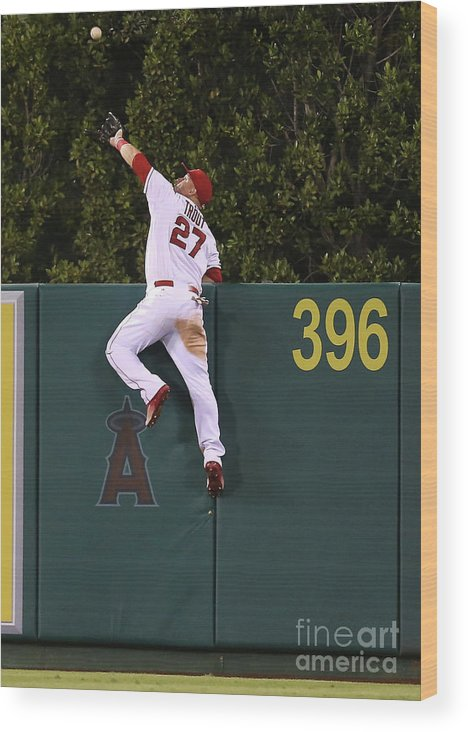 People Wood Print featuring the photograph Jesus Montero and Mike Trout by Stephen Dunn