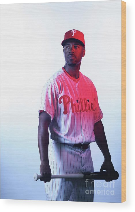 Media Day Wood Print featuring the photograph Jimmy Rollins by Nick Laham
