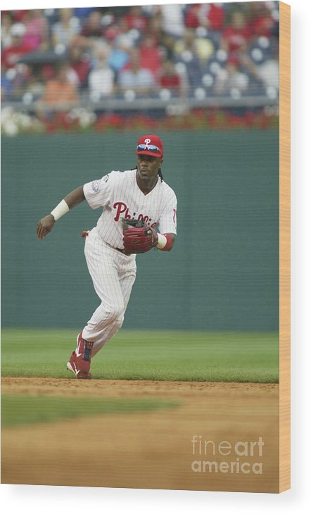Sports Ball Wood Print featuring the photograph Jimmy Rollins by Rob Leiter