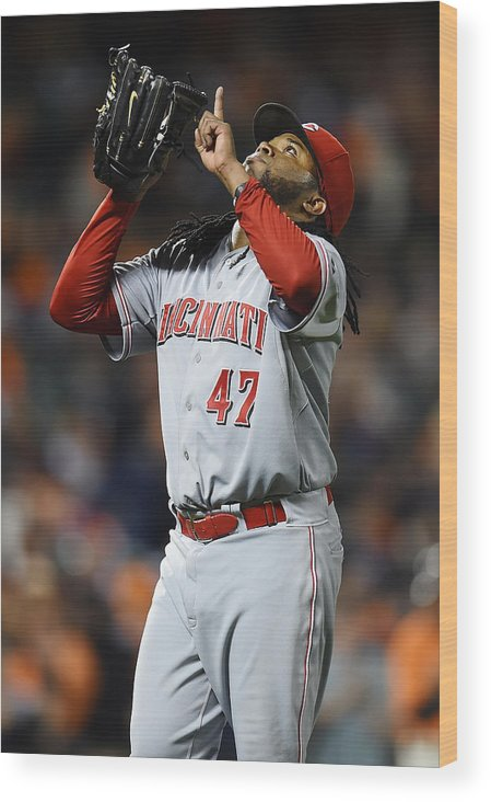 San Francisco Wood Print featuring the photograph Johnny Cueto by Thearon W. Henderson