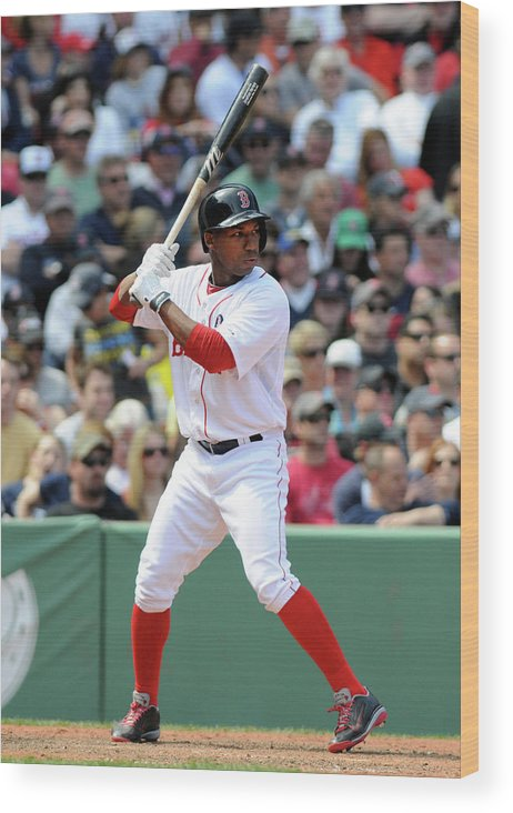 American League Baseball Wood Print featuring the photograph Jonathan Herrera by Darren Mccollester
