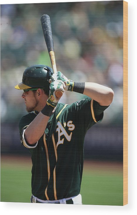 American League Baseball Wood Print featuring the photograph Josh Reddick by Brad Mangin