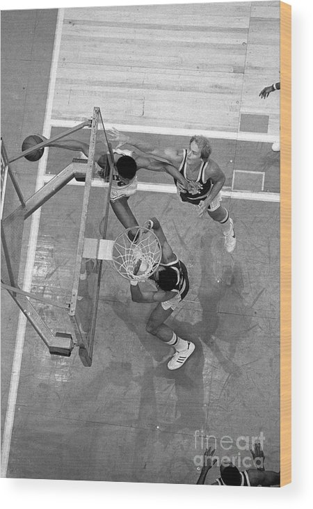 Playoffs Wood Print featuring the photograph Julius Erving and Kareem Abdul-jabbar by Jim Cummins