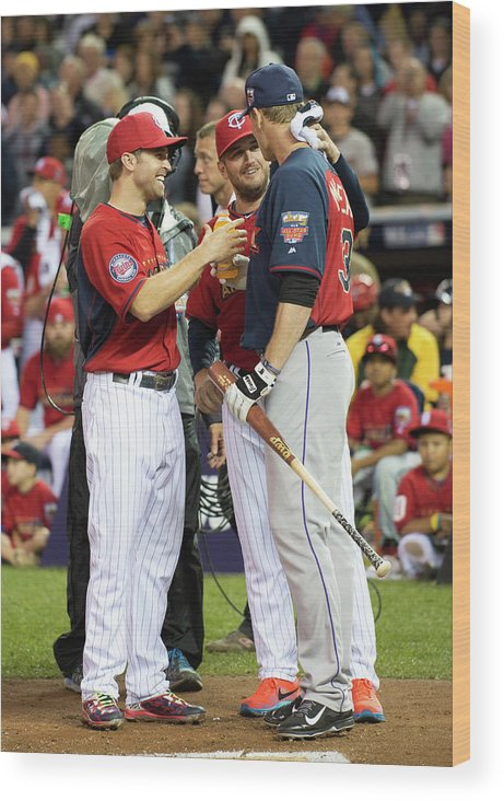 American League Baseball Wood Print featuring the photograph Justin Morneau, Glen Perkins, and Brian Dozier by Ron Vesely