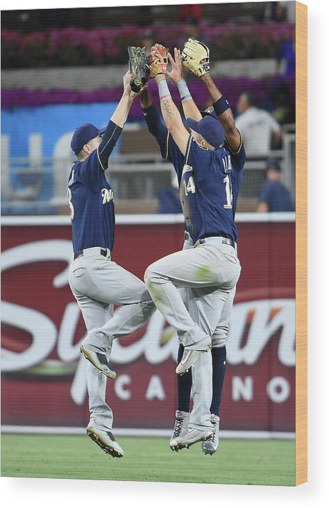 People Wood Print featuring the photograph Keon Broxton and Ryan Braun by Denis Poroy