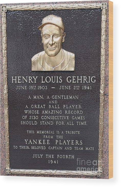 American League Baseball Wood Print featuring the photograph Lou Gehrig by Jim Mcisaac