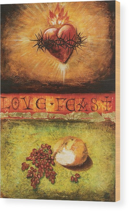 Love Feast Wood Print featuring the painting Love Feast by Teresa Carter