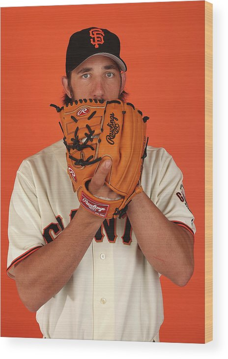Media Day Wood Print featuring the photograph Madison Bumgarner by Christian Petersen