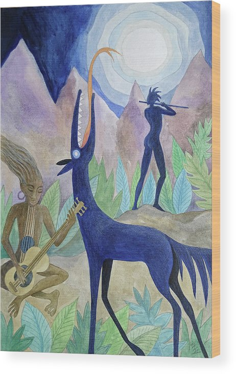 Moonlight Wood Print featuring the painting Magical Moonlight Gathering by Jennifer Baird