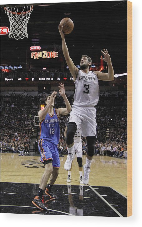 Playoffs Wood Print featuring the photograph Marco Belinelli and Steven Adams by Chris Covatta